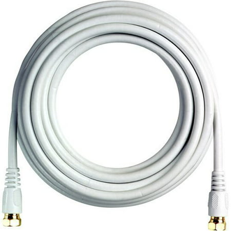 Wideskall® 25 Feet 18 Gauge RG6 Double Shielded Coaxial Cable with Gold Plated Connector (White)