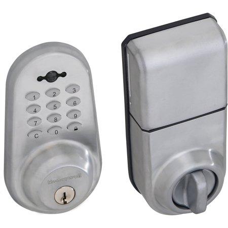 satin chrome digital door lock and deadbolt with remote. Black Bedroom Furniture Sets. Home Design Ideas