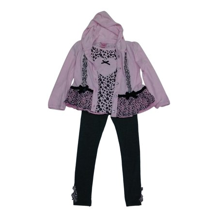 Image of Little Girls Light Pink Grey Cheetah Bow Hooded Top Shirt 3 Pc Pant Set 4-6X