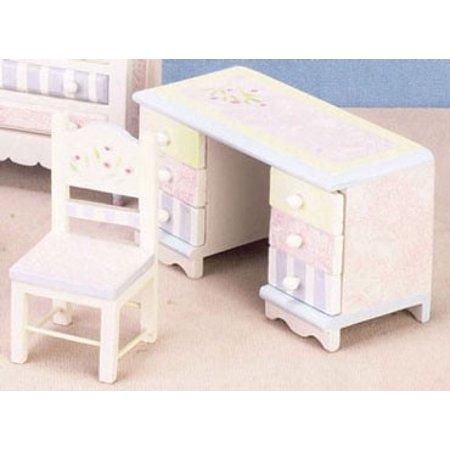 Dollhouse Floral Pastel Desk & Chair Set