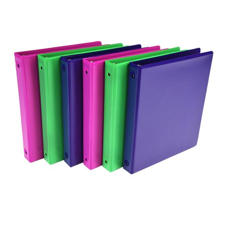 """Samsill Fashion Color 1"""" Round Ring View Binders, Assorted Colors, 6 Pack"""