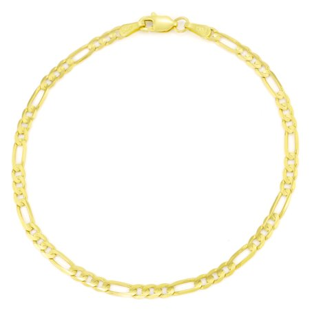 14k Yellow Gold Womens 3.5mm Hollow Figaro Chain Bracelet or Anklet, 7