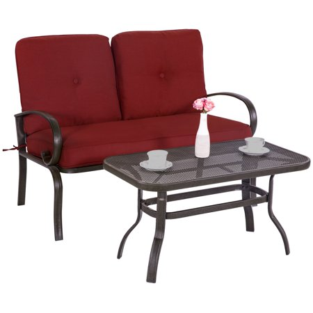 - Cloud Mountain Wrought Iron 2 Piece Patio Loveseat Conversation Set