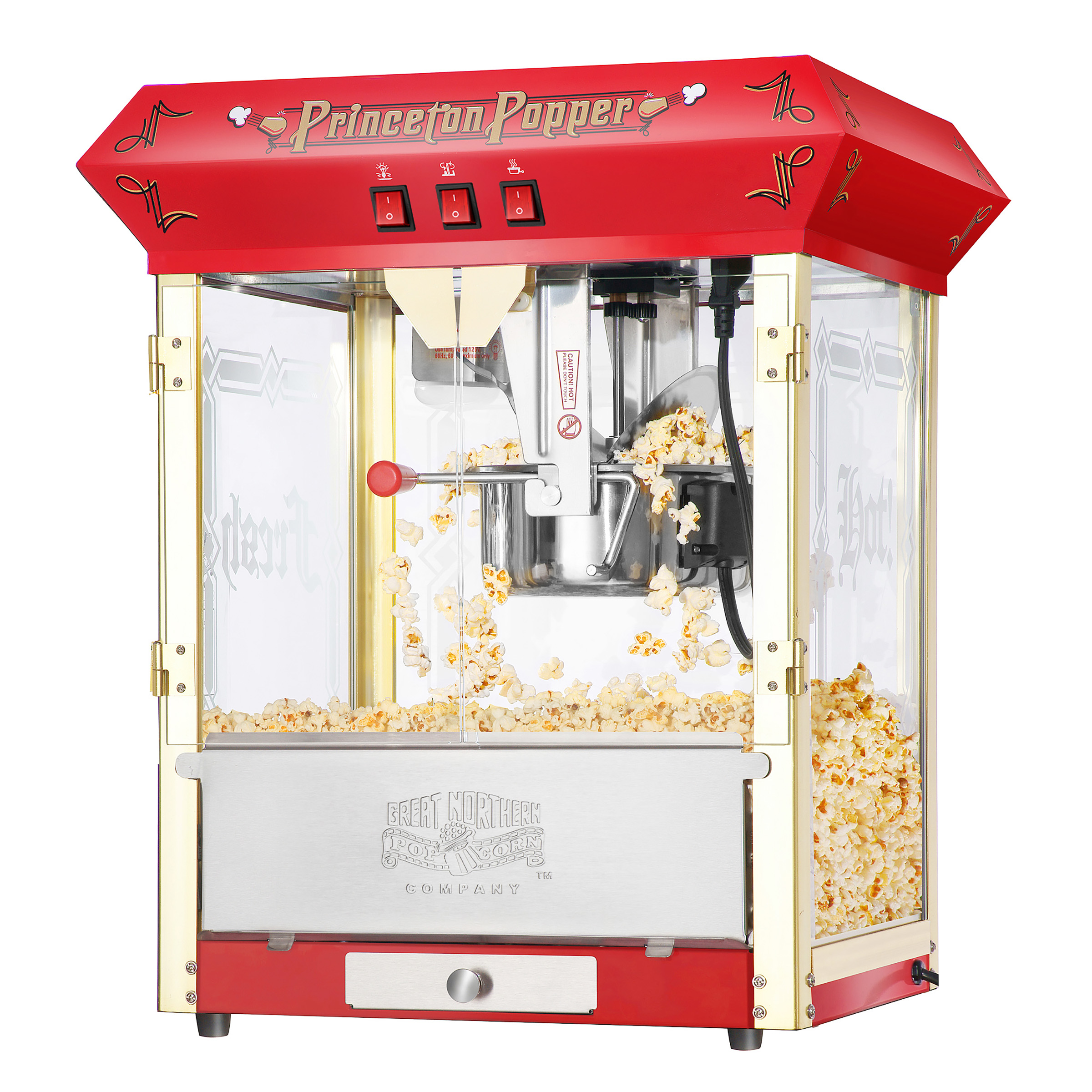 Princeton Red Antique Style Popcorn Popper Machine, 8 oz by Great Northern Popcorn