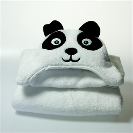 Little Ashkim HTP001 Baby Panda Hooded Turkish Towel - White, 0-24 Months