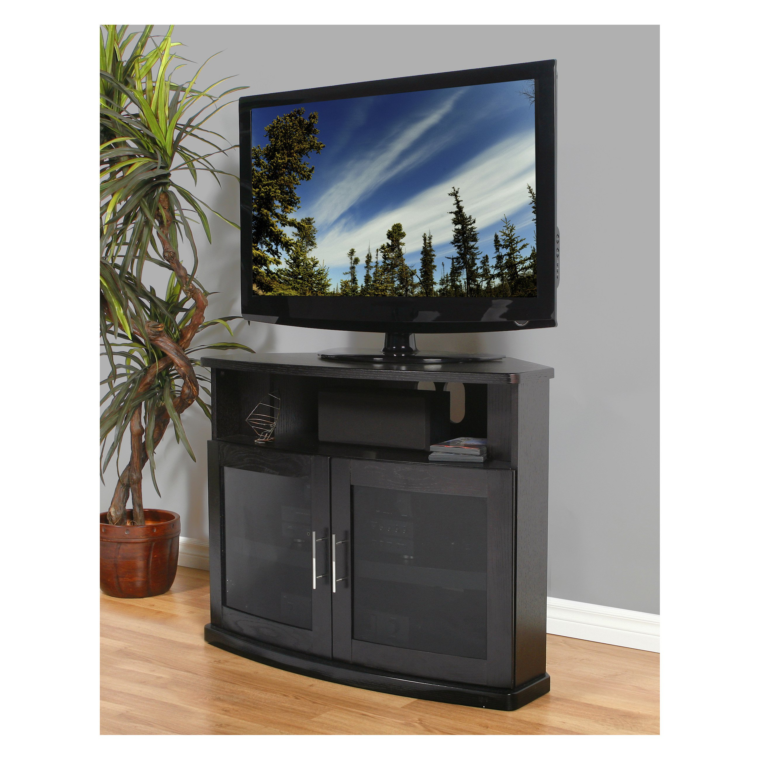 PLATEAU NEWPORT 40 B Corner Wood 40 in. TV Stand - Black Oak Finish