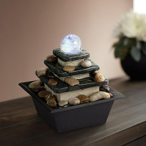John Timberland Zen Tabletop Water Fountain With Led Light Rolling Ball 3 Tier For Indoor Table Desk Walmart Com Walmart Com