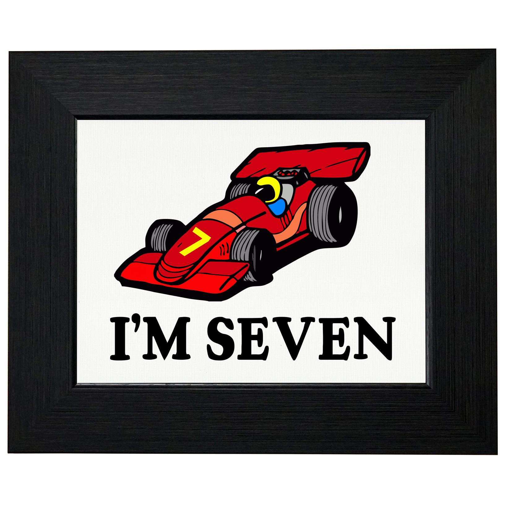 I'm 7 - Cartoon Race Car - Seven Birthday - Gift Framed Print Poster Wall or Desk Mount Options