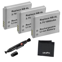 3-Pack NB-6L/6LH High-Capacity Replacement Batteries for Select Canon Digital Cameras. UltraPro Bundle Includes: Deluxe MicroFiber Cleaning Cloth, Lens Cleaning Pen