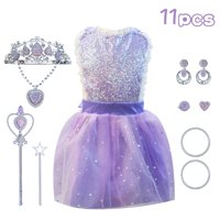 JUMPER Princess Costumes Halloween Dress Up / Role Play Costume, Fronzen Elsa Girl's Princess Jewelry Dress Up Play Set Birthday Party Supplies