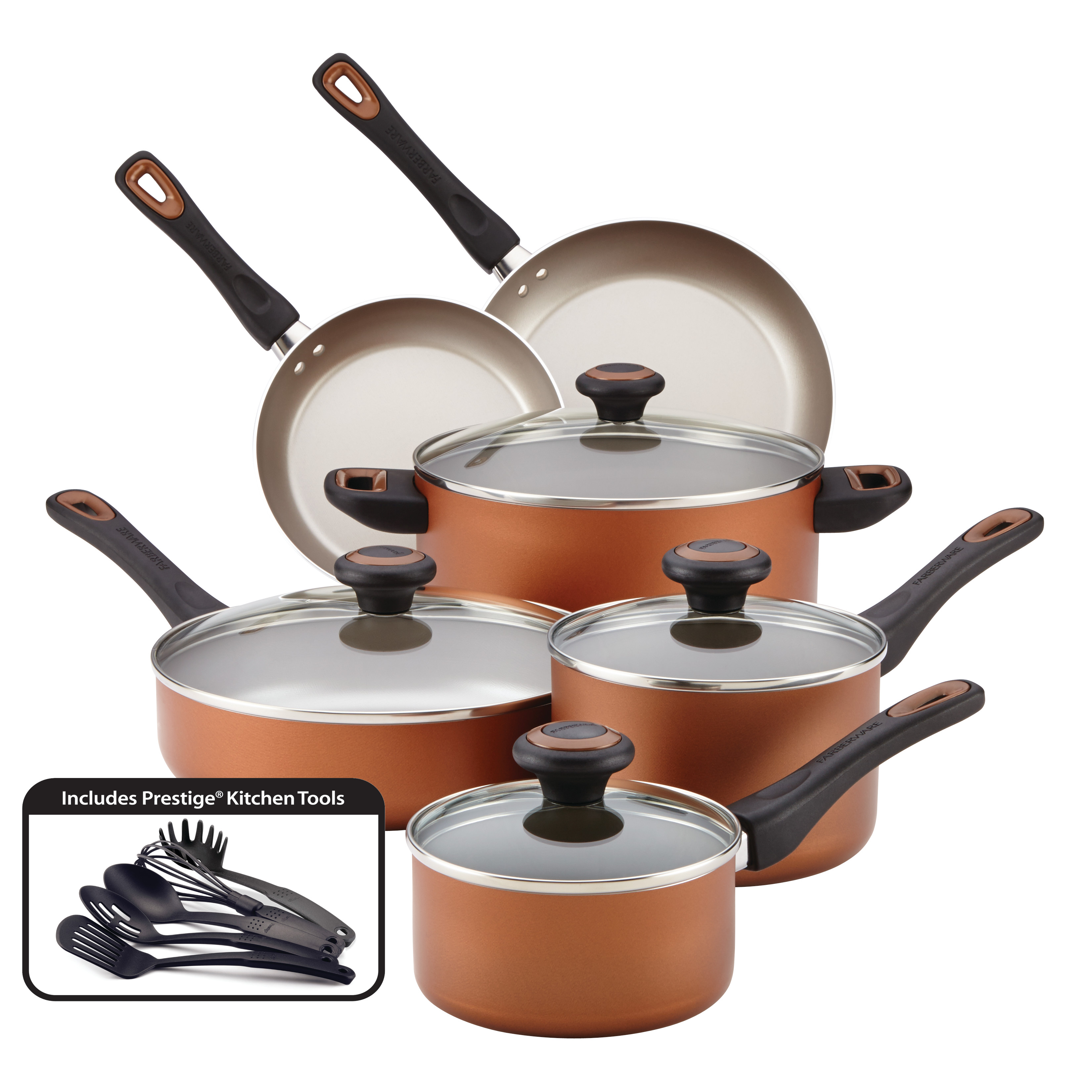Farberware Dishwasher Safe High Performance Nonstick 15-Piece Cookware Set, Copper