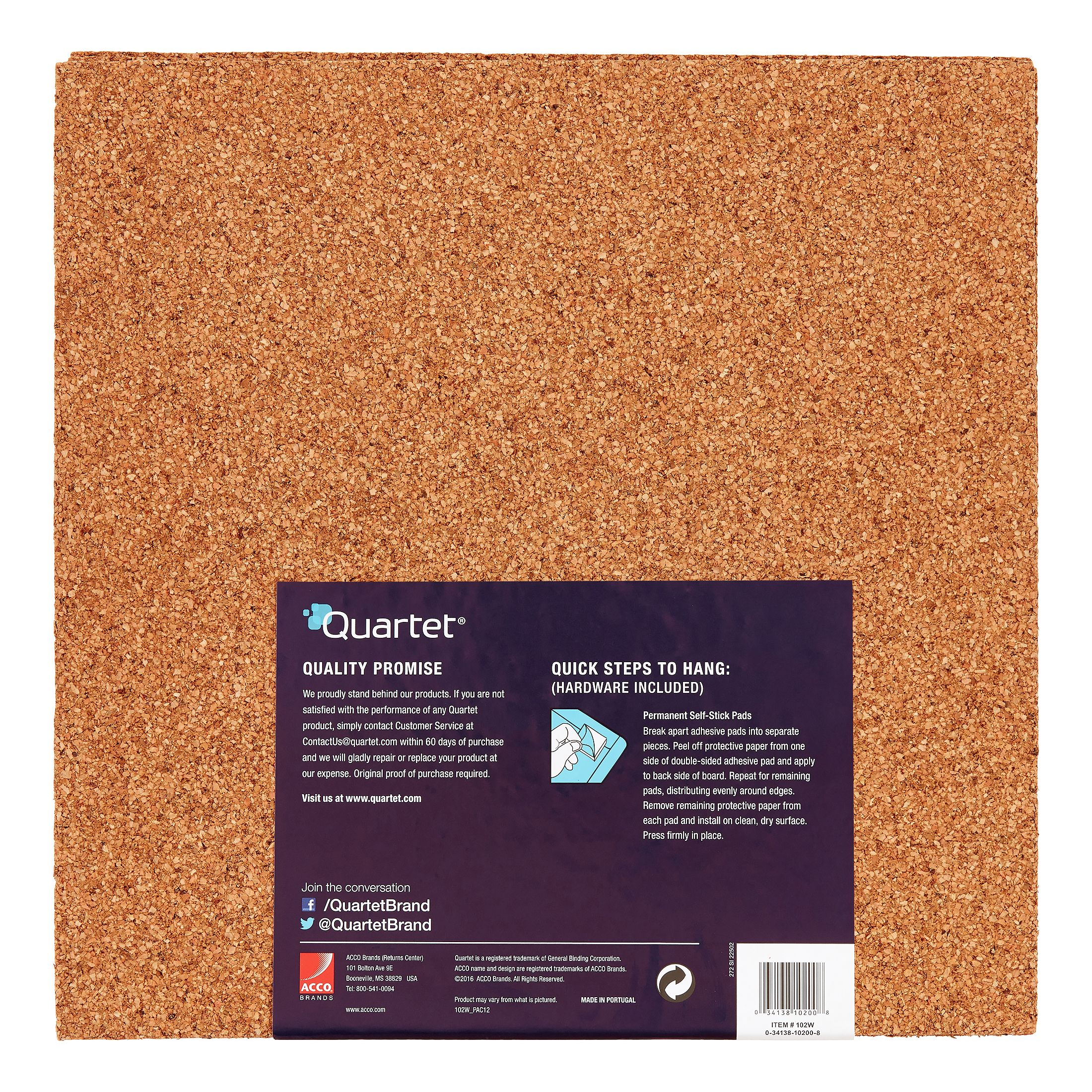 Quartet Natural Cork Tiles12 X 12 Frameless Modular 4 Count