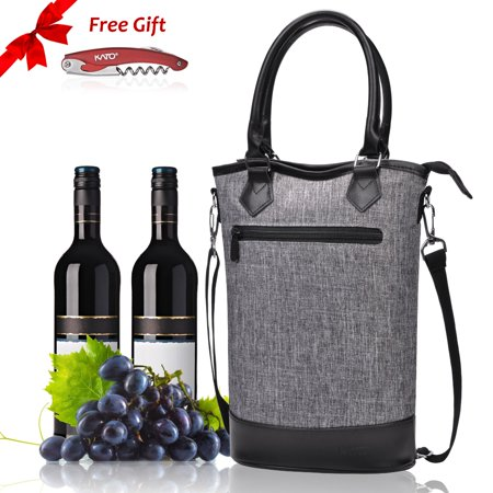 Kato Insulated Wine Tote Bag Travel Padded 2 Bottle Champagne Cooler Carrier With Handle And Shoulder Strap Free Cork Great Lover