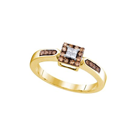 Size - 7 - Solid 10k Yellow Gold Princess Cut Round White And Chocolate Brown Diamond Engagement Ring OR Fashion Band Invisible Set Square Shape Solitaire Shaped Halo Ring (1/4 cttw) Princess Cut Diamond Ring Band