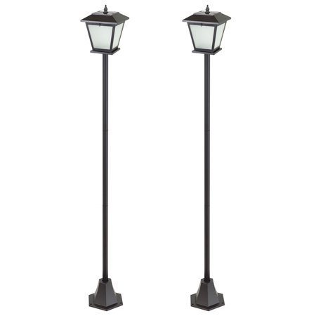 Traditional Outdoor Post Lamp - 2-Pack Energizer 74-Inch Solar Post Lamps