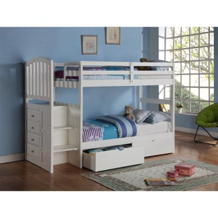 Donco kids arch mission stairway white twin bunk bed with underbed drawers - Loft bed with drawers underneath ...