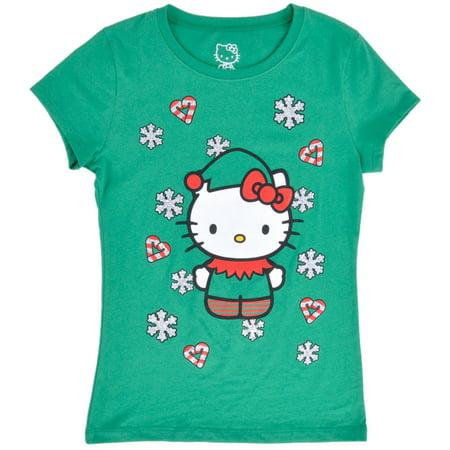 58bfb31c0 Sanrio - Hello Kitty Christmas T-Shirt Holiday Elf Top Sanrio Girls Age  8-14 - Walmart.com