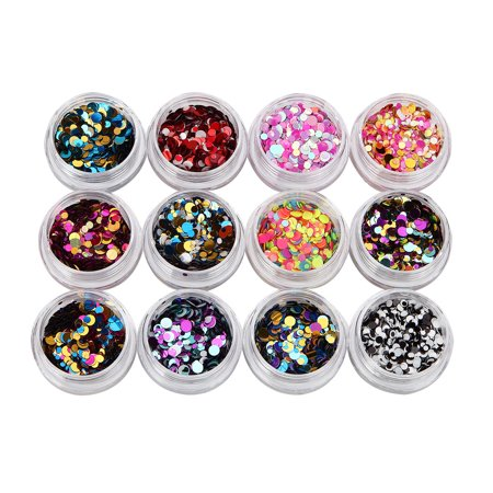 12 Colors Nail Art Tips Stickers Acrylic 3D Glitter Sequins Manicure DIY](Halloween Nail Stickers Australia)