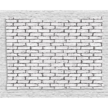Life Urban Envelope - Grey and White Tapestry, Grunge Brick Wall Background Urban Architecture Building Modern City Life Graphic, Wall Hanging for Bedroom Living Room Dorm Decor, 80W X 60L Inches, Grey, by Ambesonne