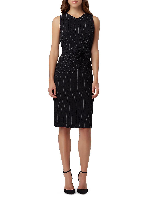 Petite Bow Striped Crepe Sheath Dress