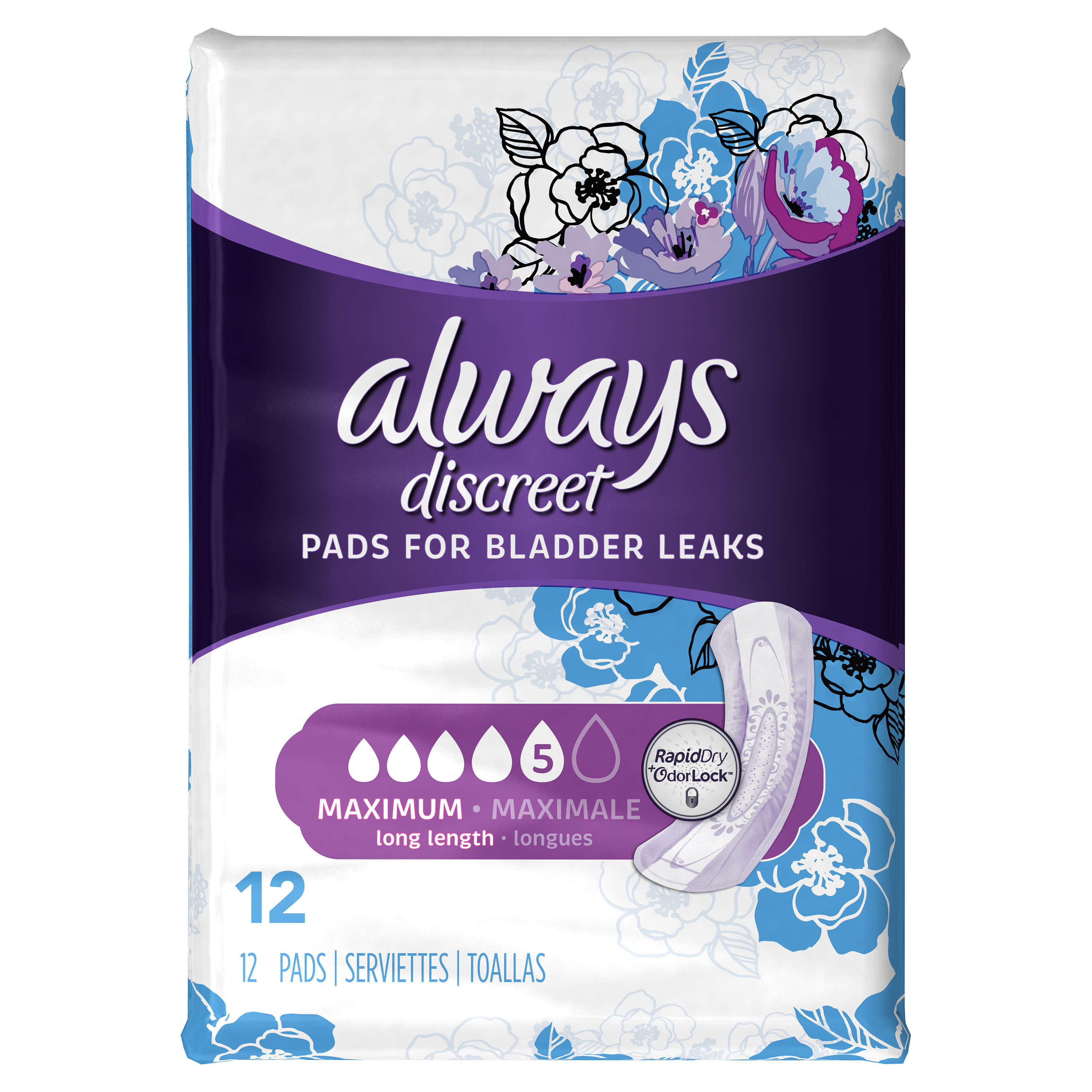 Always Discreet Incontinence Pads, Maximum, Long length, 12 Ct