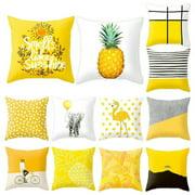 Yellow Polyester Pillow Case Sofa Car Waist Throw Cushion Cover Home Decor