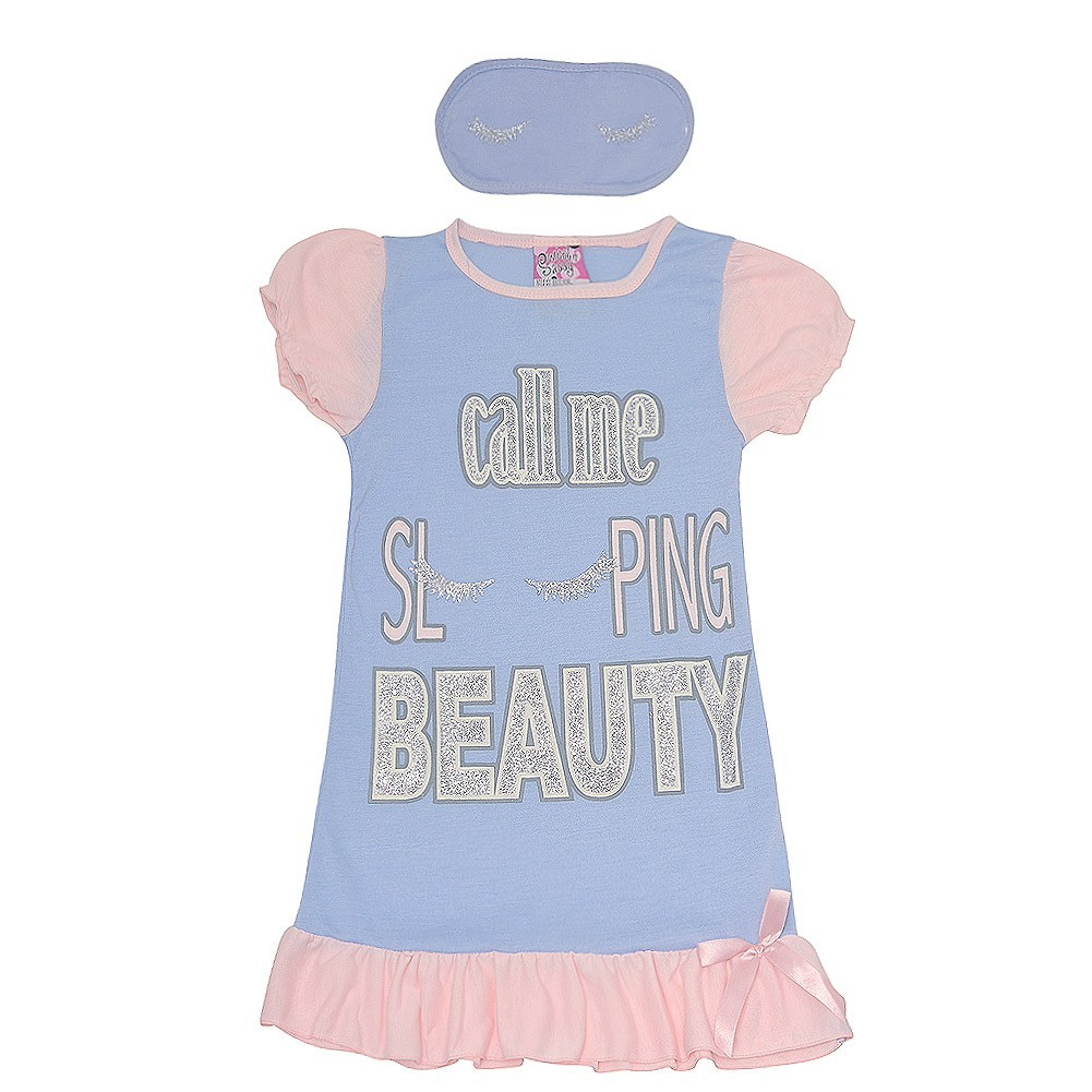 Sweet N Sassy Girls Cat Pink Short Sleeved Nightgown with Sleep Mask