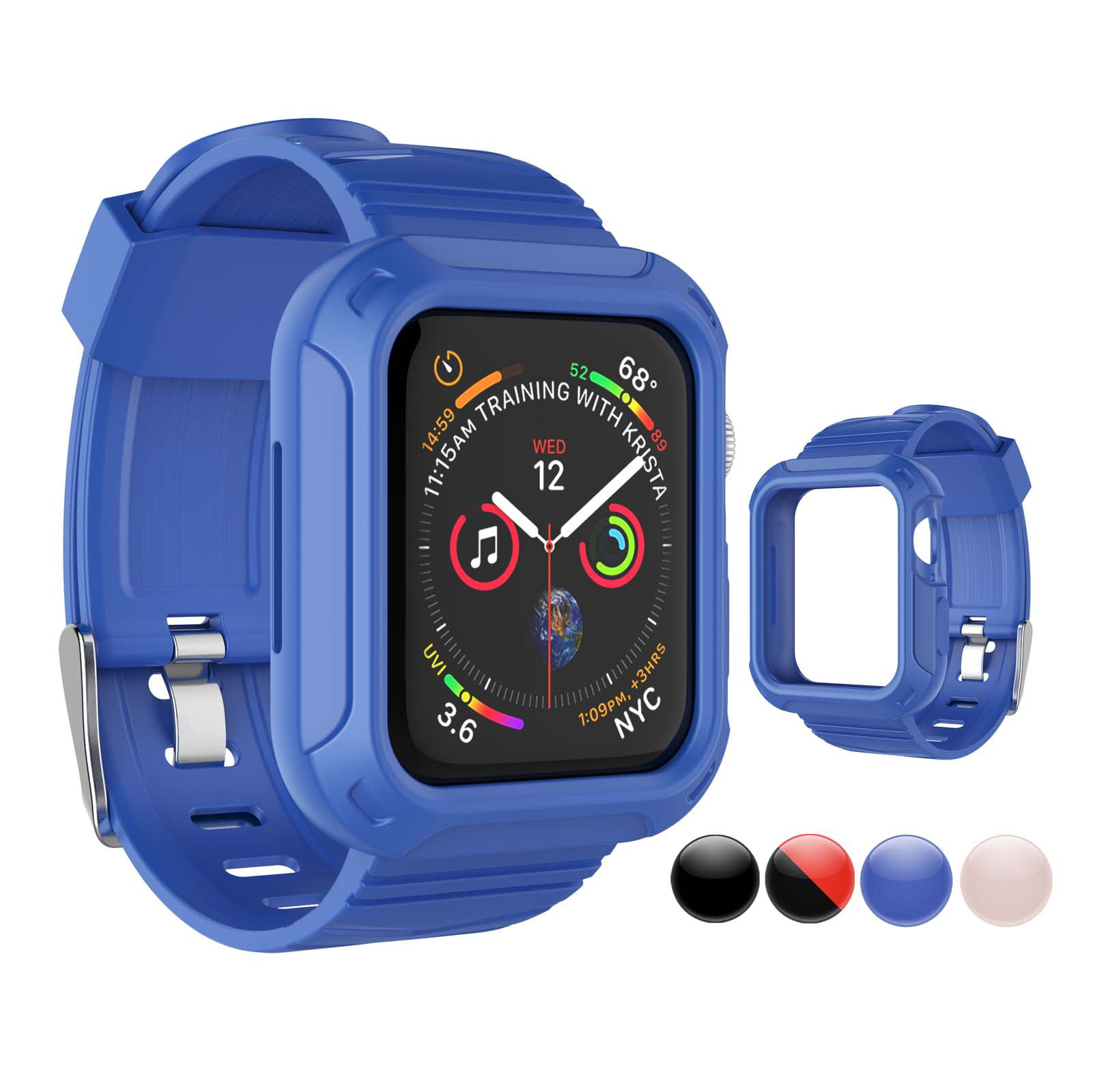 Njjex for Apple Watch Series 6 5 4 3 2 1 SE 38mm 40mm 42mm 44mm Rugged Armor Pro Cases, Rugged Protective Case with Strap Bands for Apple Watch SE Series 1 2 3 4 5 6