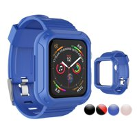 Njjex for Apple Watch Series 5 4 3 2 1 38mm 40mm 42mm 44mm Rugged Armor Pro Cases, Rugged Protective Case with Strap Bands for Apple Watch Series 1 Series 2 Series 3 Series 4 Series 5