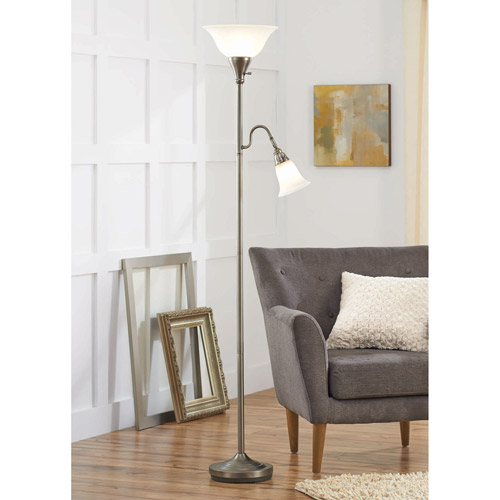 Better Homes and Garden Floor Lamp Combo, Antique Nickel