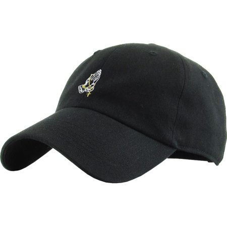 Praying Hands Rosary Black Dad Hat Baseball Cap Polo Style Adjustable Flexfit Nike Adidas City