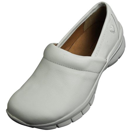 Nurse Mates Libby Lightweight Leather Medical Nursing Clogs Slip-On Doctor Shoes, 38449 White / - White Nurse Mates