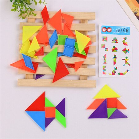 20Packs Rainbow Tangram Puzzle Plastic Mini Puzzle Board DIY Puzzle Toy - image 3 of 5