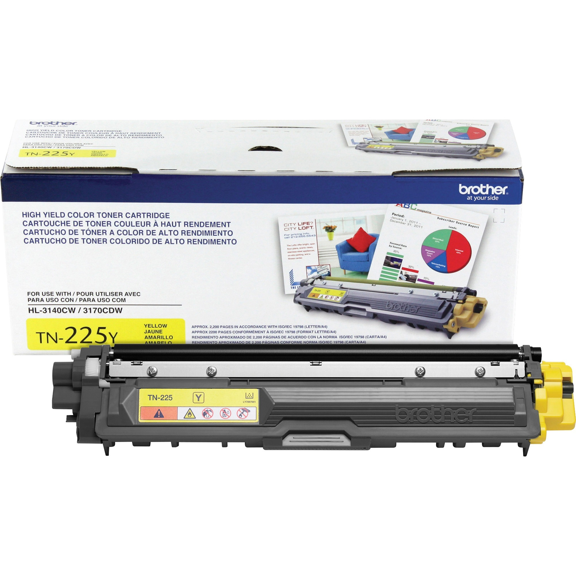 Brother TN225Y High-Yield Toner, Yellow