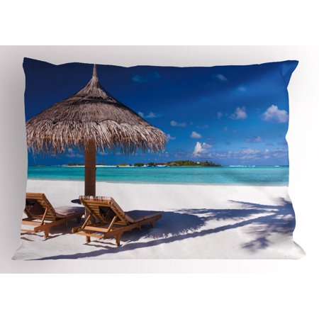 Landscape Pillow Sham Island Caribbean Honeymoon Themed Beach Seashore Ocean Print, Decorative Standard Size Printed Pillowcase, 26 X 20 Inches, White Pale Brown and Turquoise, by Ambesonne
