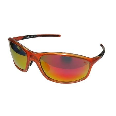 New Puma 15194 Mens Wrap Full-Rim Mirrored Orange / Black 100% UV UVB Protection Stunning Modern Sunnies Shades Frame Mirrored Blue Lenses 63-17-125 Sunglasses/Sun Glasses (Mirrored Sunnies)