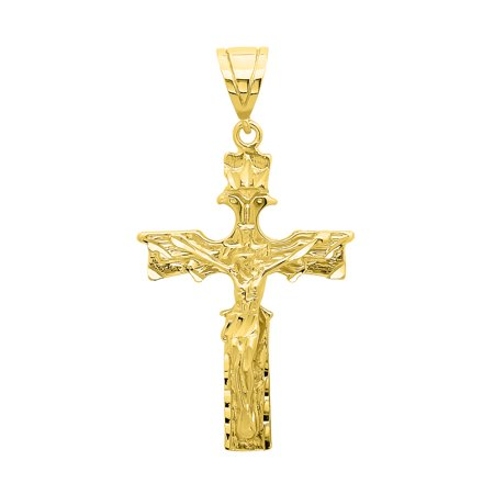 Gold Large Eagle (Large 38.5mm x 5.4cm 14 Gold Plated Crowned Eagle Crucifix Pendant + Microfiber Jewelry Polishing Cloth )