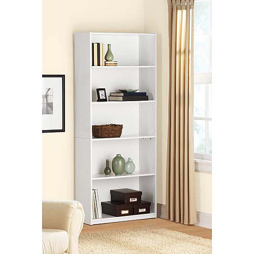 Mainstays 5-Shelf Bookcase, White