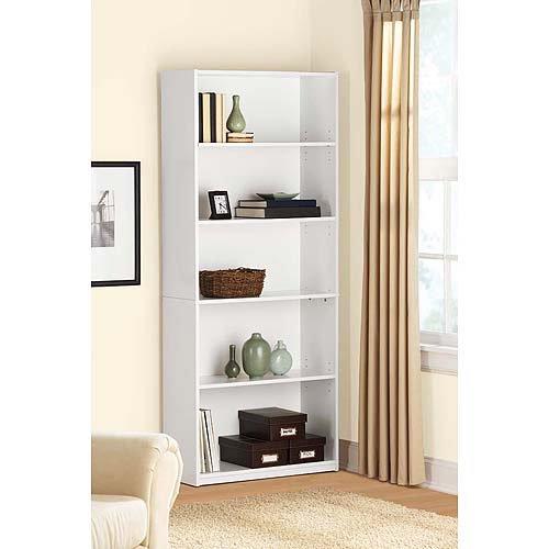 mainstays 5 shelf bookcase white. Black Bedroom Furniture Sets. Home Design Ideas