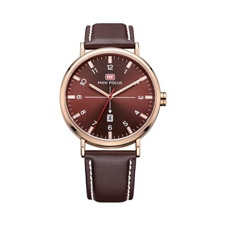 Mens Quartz Watch Brown Leather Strap Arabia Style 3 Hands Date Display for Friends Lovers Best Holiday Gift