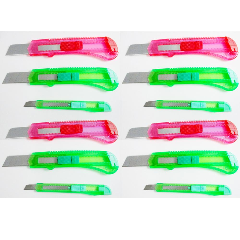 12 Pc Knife Utility Box Cutter Retractable Snap Off Lock Razor Sharp Blade Tool
