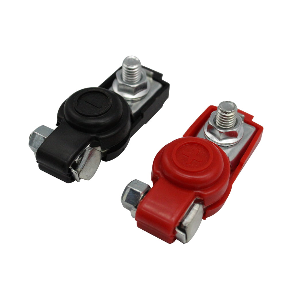 BATTERY TERMINAL STUD COVERS POSITIVE NEGATIVE RED BLACK INSULATED CLASSIC