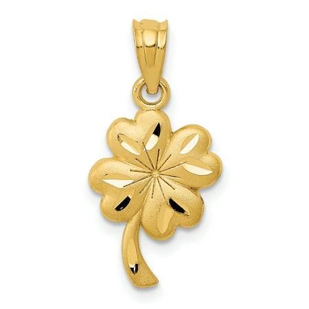 14k Yellow Gold Shamrock Pendant Charm Necklace Good Luck Italian Horn For Women Gift Set (Lucky Italian Horn)