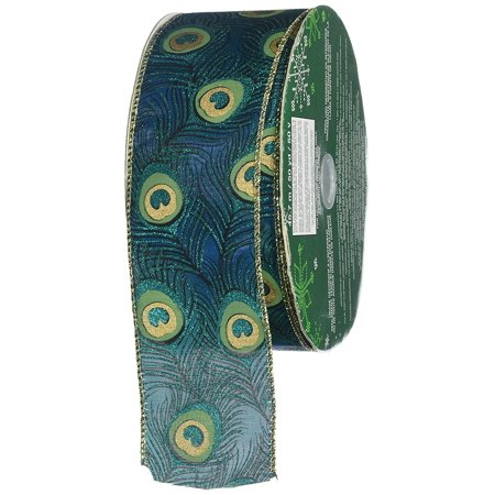 Ribbon Bows (Peacock Feather 50 Yards Wide Ribbon Wire Edge Premium Emerald Gold Holiday Tree Bow Gift)