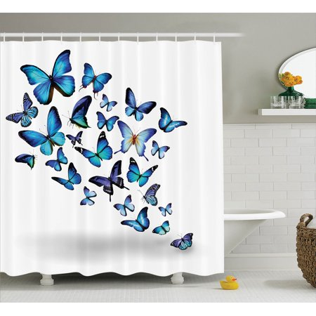 Butterflies Decoration Shower Curtain Set, Group Of Flying Butterflies Natural Botanic Parks Springtime Festive Season , Bathroom Accessories, 69W X 70L Inches, By Ambesonne - Butterfly Bathroom