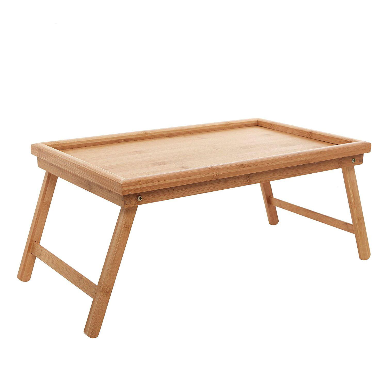 Ktaxon Wood Breakfast Bed Tray Lap Desk Serving Table Foldable Legs