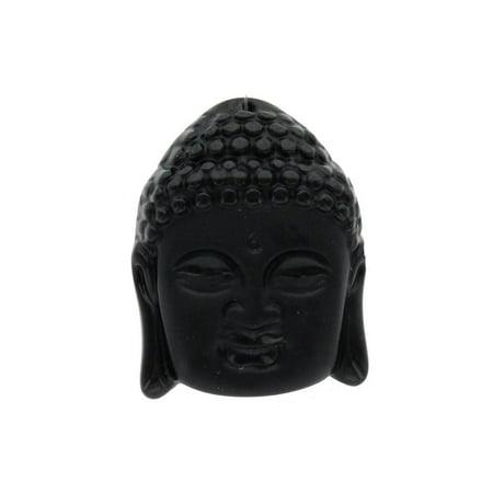 John Bead Glass Pendant Buddha 38x49mm Face Black (Buddha Face Pendant)