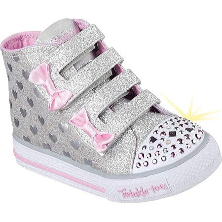 Infant Girls Skechers Twinkle Toes Shuffles Doodle Days High Top