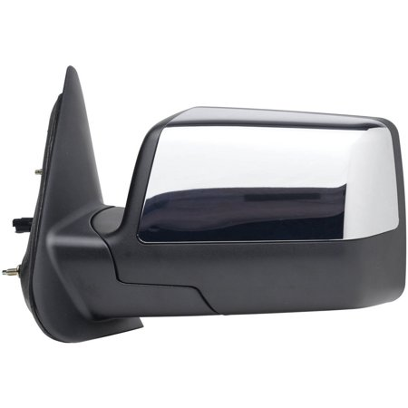 61154F - Fit System Driver Side Mirror for 06-11 Ford Ranger, textured black, w/ chrome cover, foldaway, (Ford Ranger Manual Mirror Driver)