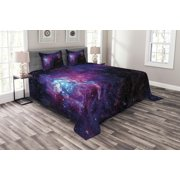 Galaxy Bedspread Set, Starry Night Nebula Cloud Celestial Theme Image Space Art Elements Print, Decorative Quilted Coverlet Set with Pillow Shams Included, Black Purple Blue, by Ambesonne